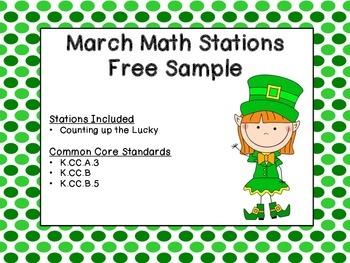 March Kindergarten Math Station - Free Sample