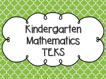 Kindergarten Math TEKS Bright Green Quatrefoil Design