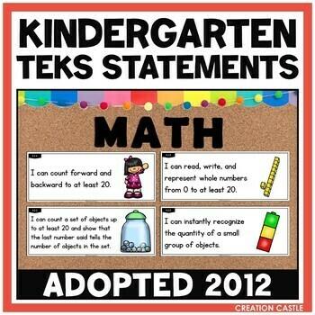 Kindergarten Math TEKS - Can and Will Standards Statements