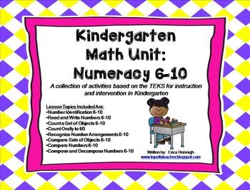 Kindergarten Math Unit:Numeracy 6-10 TEKS Lessons & Interv