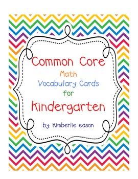 Kindergarten Math Vocabulary Cards-Envision Math-Blank Background