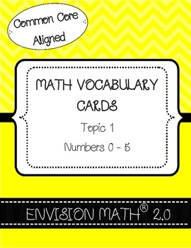Kindergarten Common Core Math Vocabulary Cards - Topic 1 N