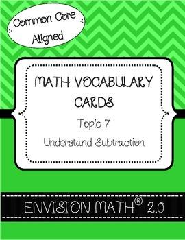 Kindergarten Common Core Math Vocabulary Cards - Topic 7 U