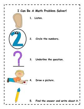 Kindergarten Math Word Problem Solving Poster