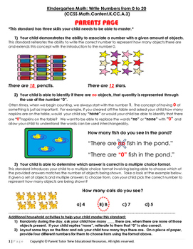 Kindergarten Math: Write Numbers from 0 to 20
