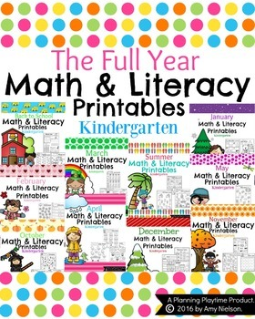 Kindergarten Math and Literacy Printables