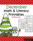 Kindergarten Math and Literacy Printables - December