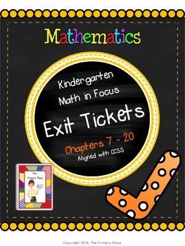 Kindergarten Math in Focus Exit Tickets - Chapters 7 - 20