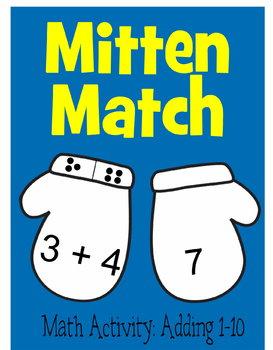 Kindergarten Mitten Match Math Game