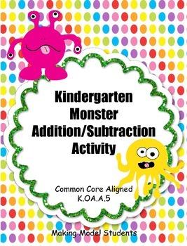 Kindergarten Monster-Themed Addition/Subtracting Matching