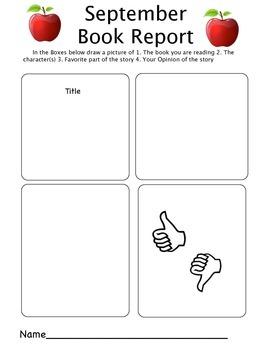 Kindergarten Monthly Book Reports