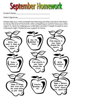 Kindergarten Monthly Homework