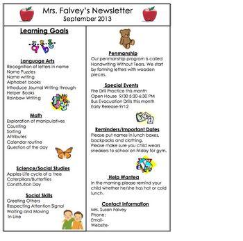 Kindergarten Monthly Newsletters