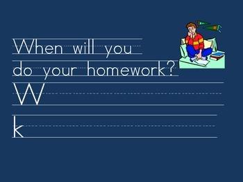 Kindergarten: Morning Journal for words: when/then