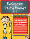 Kindergarten Morning Messages:  Set 2!  A Math And Literac