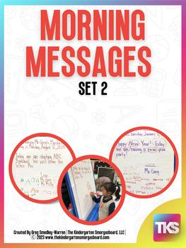 Kindergarten Morning Messages:  Set 2!  A Math And Literac