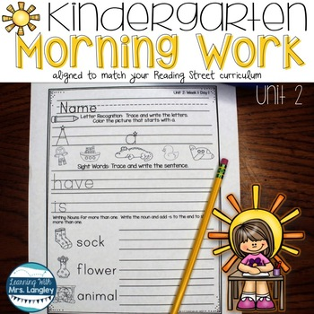 Kindergarten Morning Word Work Unit 2