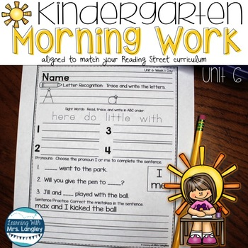 Kindergarten Morning Word Work Unit 6