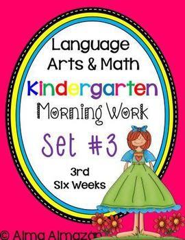 Kindergarten Morning Work Reading and Math Set 3