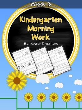 Kindergarten Morning Work - Week Three