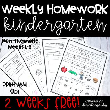 Kindergarten NO PREP Homework 2 Weeks FREE!!