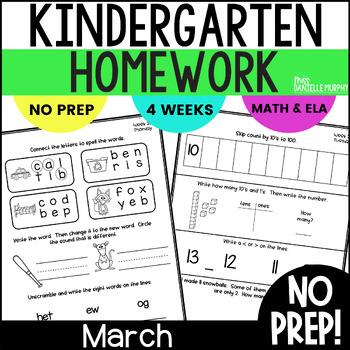 Homework Math and Literacy Weeks 25-28 (March)--Kindergarten