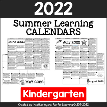 2016 Kindergarten NO PREP Summer Activity Calendars {CCSS