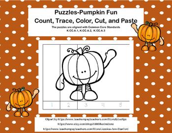 Kindergarten No Prep Puzzles- Count, Trace, Color, Cut, an