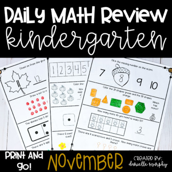 Math Journal--November Daily Review for Kindergarten--Comm