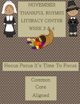 Kindergarten Rhymes Literacy Center Week 3 & 4