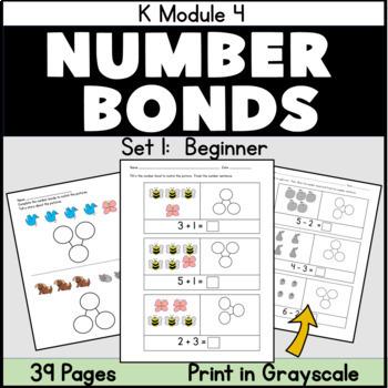 Kindergarten Number Bonds: Beginner Number Bonds 30 pg Pac