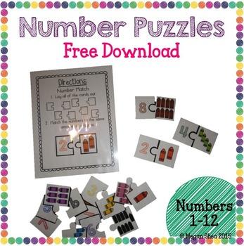 Kindergarten Number Puzzles Free Download