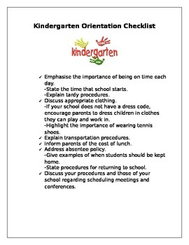 Kindergarten Orientation Checklist