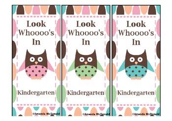 Kindergarten Owl Bookmark