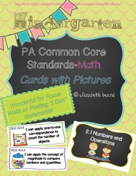 Kindergarten PA Common Core Standards Cards-Math