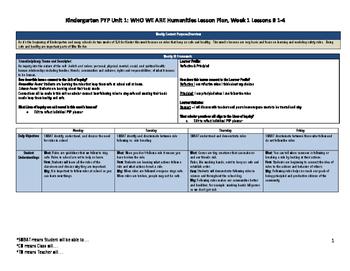 Kindergarten PYP Unit 1 Humanities Lessons 1-4 (Week 1): W
