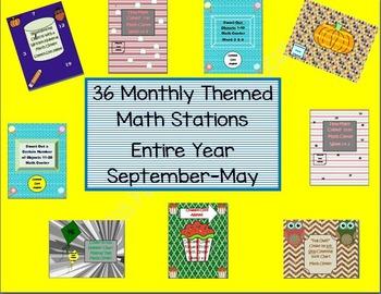 Kindergarten Pack #1 Bundled Monthly Themed 36 Math Statio