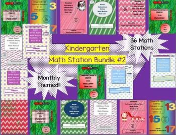 Kindergarten Pack #2 Bundled Monthly Themed 36 Math Statio