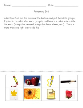 Kindergarten Patterning Skills Worksheets