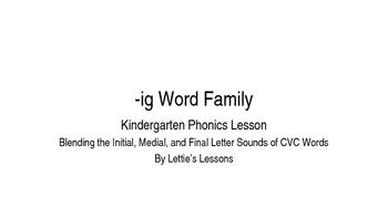 Kindergarten Phonics Lesson: Blending CVC Words -ig Word Family