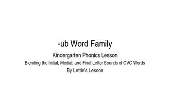 Kindergarten Phonics Lesson: Blending CVC Words -ub Word Family