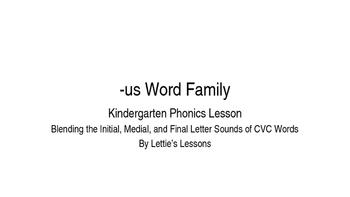 Kindergarten Phonics Lesson: Blending CVC Words -us Word Family
