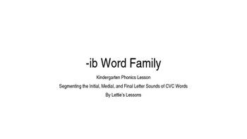 Kindergarten Phonics Lesson: Segmenting CVC Words- ib Word Family