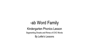 Kindergarten Phonics Lesson: Segmenting onset and rime- ab