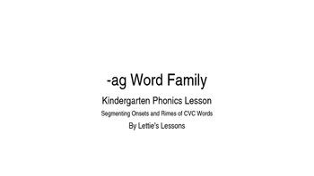 Kindergarten Phonics Lesson: Segmenting onset and rime- ag