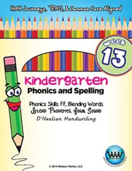 Kindergarten Phonics and Spelling D'Nealian Week 13 (F)