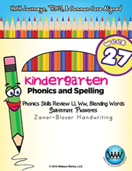 Kindergarten Phonics and Spelling Zaner-Bloser Week 27 (L, W)