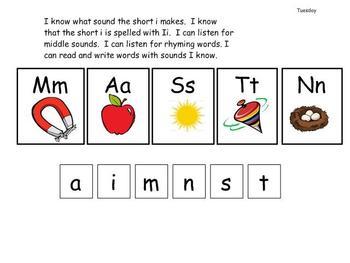 Kindergarten Phonics lesson Unit 5 short i for the mimio