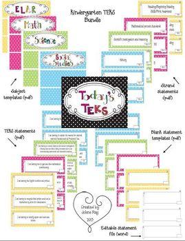 Kindergarten Polka Dot Themed TEKS Statement Poster Bundle