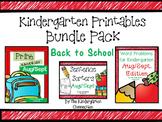 Kindergarten Printables Bundle - Back to School